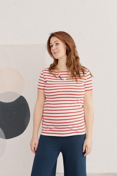 Maternity Short-sleeved Sand Prints Top Model Image