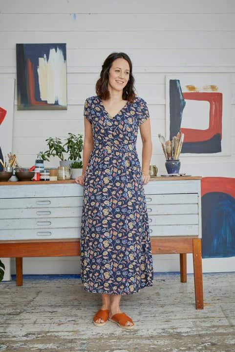 Feather Slate Dress Model Image