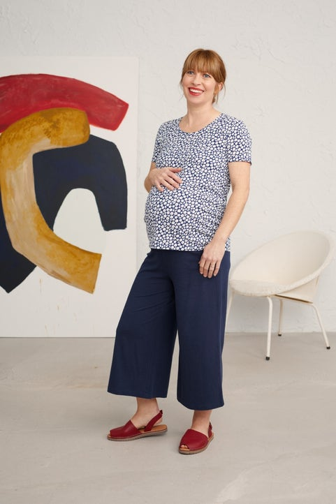 Maternity Short-sleeved Sand Prints Top Image